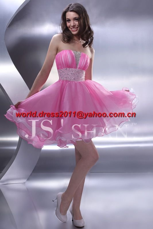 Pink Party Cute Short Girl Cocktial Dress(China (Mainland))