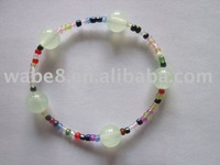 colourful glass bead and glow bead bracelet
