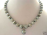 """Charming TAHITIAN GENUINE PEARL NECKLACE WITH PENDANT  18"""" 9MM color Fashion Free shipping"""