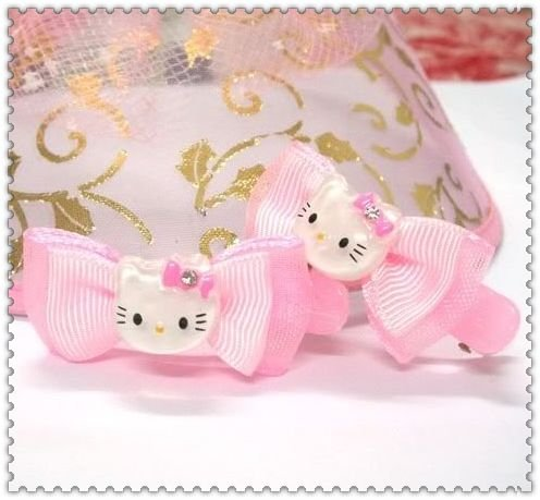 Wholesale - LOT / 50pairs Sanrio girl Hello Kitty girl headband head hair band claw bow hairband kid CLIP C1(China (Mainland))