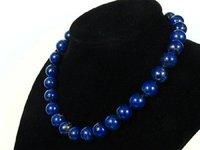 Wonderful beautiful 12mm round blue lapis lazuli  necklace Fashion Free shipping
