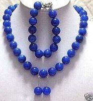 Wonderful 12mm lapis lazuli necklace bracelet earring Fashion Free shipping