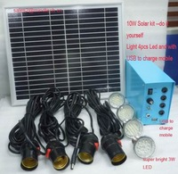 solar indoor lighting system for 4pcs LED and charge mobile
