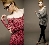 Free shipping women Leopard Fashion knitted clothing