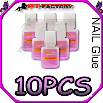 10 bottle 10g NAIL GLUE w/ BRUSH NAIL ART TOOLS TIPS DECALS 10 PCS