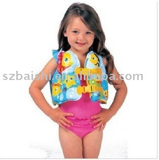Wholesale & Retail 10pcs Fish Swim Inflatable Aid Life Jacket Vest For Baby Kid 3-5years