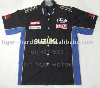 Suzuki Superbike de la motocicleta del motorista Pit Crew camisa del equipo de carreras de la camiseta