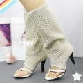 Wholesale 2011 newest women's summer suede boots,7cm-high heel thong boots,beige color,nubuck leather,accept  &OEM
