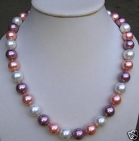 "12mm Multicolor Akoya Cultured Pearl Necklace 18"" Fashion AKOYA Free shipping"