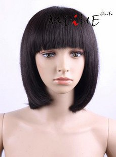 Free Shipping! Retail and Wholesale! Fashion human hair /bobo wig/Natural medium long wig for any type face(China (Mainland))