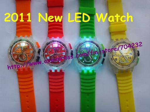 2011 New fashion LED Watch Silicon Watch in 8 colors 100pcs/lot+Free shipping(China (Mainland))