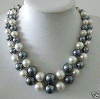 WHITE&GRAY SHELL PEARL NECKLACE Fashion AKOYA Free shipping
