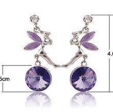 5pairs/lot free shipping purple angel frame crystal lady's fashion earrings(China (Mainland))