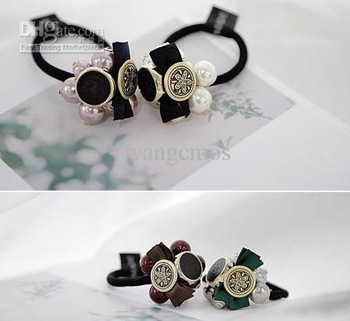 hair ring bow hair accessories rope/hair Ornaments/Headband Wrap/black retro lady multi-element