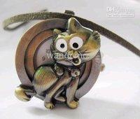 3D cat pendant pocketwatches/retro sweater chain pocketwatches/ keychain watches/nacklace watches