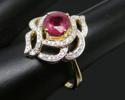 2.34Ct Solid 14Kt Yellow Gold Natural Diamond Red Ruby Ring