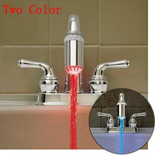 Wholesale Two Color LED Faucet Light Color Lamp Multiple Color LED Shower Head Water Temperature (Gradual Change) 50pack(China (Mainland))