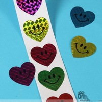 Wholesale Heart shape Laser Smiley Stickers Promotional Gifts stickers Labels 100pcs/Roll 40roll/lot Fast delivery Free shipping