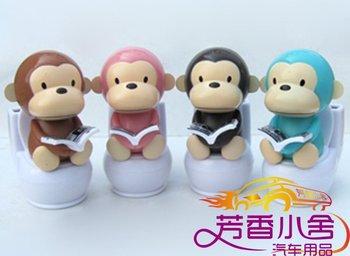 120 pcs/lot Free shipping Solar toy mini solar toilet monkey toy,auto accessories,car decorative toys car decoration