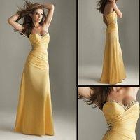 Gorgeous V-neckline EV1018 sleeveless Floor-length taffeta beaded party dress
