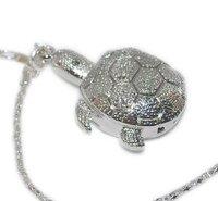 Minimum order (you can mix order) requires $9.99 Silver turtle Pendants Quartz necklace pocket Watch  K29