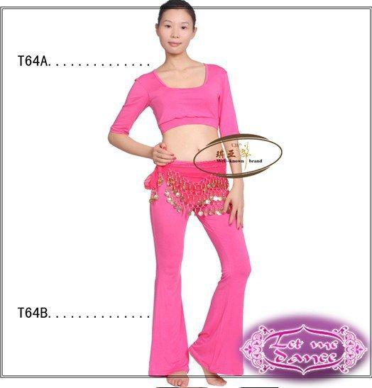 novo mangas meia dança do ventre/treinamento yoga paletó + calças promoção preço t64 alta- grau de qualidade rosa(China (Mainland))