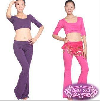 Novos mangas meia dança do ventre / yoga formação terno casaco + calça menor famosa marca atacado T64 preço alto grau de qualidade(China (Mainland))
