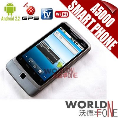 UPS 45% SHIPPING DISCOUNT!!! A5000 Dual SIM Card WIFI Cell Phone Android 2.2 Smart Phone Quad Band GPS TV 3pcs/lot (WF-A5000)(Hong Kong)