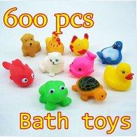 Wholesale 600pcs/lot New Baby Bath Toy Rubber Funny Squeak Animals Multi-Styles 4-7CM