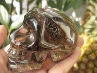 Natural Clear Smoky Quartz Crystal Skull 265g+Free Shipping