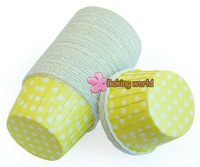 CAKE WHITE DOT CUPCAKE CASES Yelllow 3000pcs Round MUFFIN
