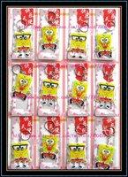 Wholesale - 12sheets 144pcs SpongeBob  Plastic Key Chain Ring Free Shipping
