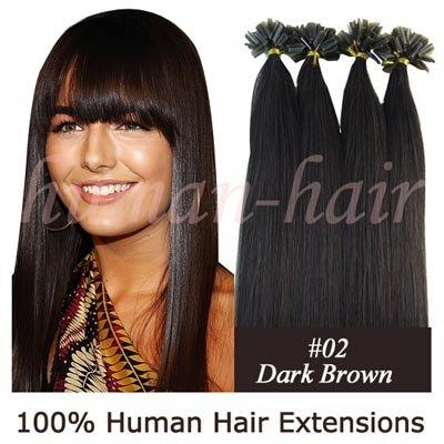 20 polegadas queratina ponta do prego- u- forma extensão do cabelo remy 0.5g #2 cor marrom escuro 100 peças(China (Mainland))