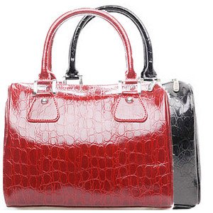 Free Shipping! ! SUSU2011 new large red leather handbag genuine crocodile pattern leather handbag women's bucket bag