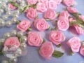 FREE SHIP 200pcs Satin Ribbon  R16  Rose Flower with Green Leaf  Appliques