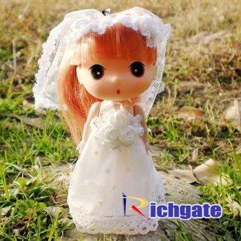 60pcs 12cm Mini Fashion Girls Lovely Ddung Dolls Pretty Wedding Veil Bride Cell Phone Rings & Party Supplies FREE Shipping