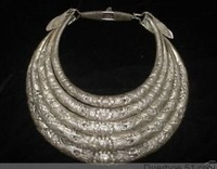 "11""Miao Folk Silver 5 Loops Dragons Necklace chaplet  Fashion  Free shipping"