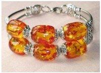 4PC Elegant yellow amber Tibet silver beads Bracelets Bangle shipping free