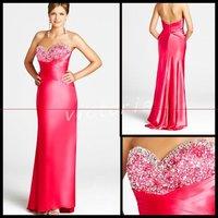 New! Elegant EV1056 Floor-lenght sleeveless sweet heart elastic satin beaded Prom Dress/Party Dress
