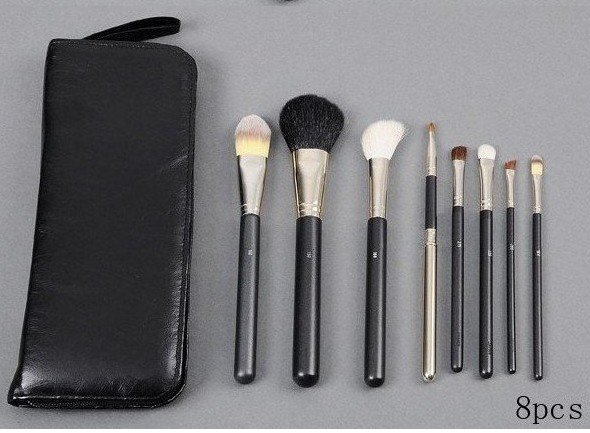 Wholesale-Hot Selling! New Makeup Brush 8 pieces LEATHER Pouch Makeup (10 pcs/lot)(China (Mainland))