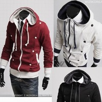Shipping Free 2012 New Mens Button Pleat Jumper Rider Hoodie Jacket 3Colors