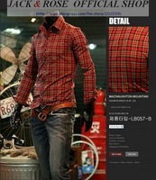 Mens casual slim fit check  shirt /  Men's  Long Sleeve plaids Shirts   free shipping