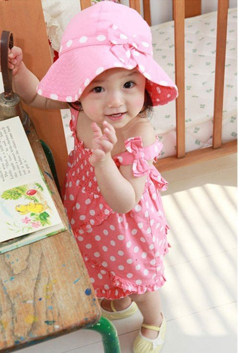 Free Shipping Spring/Summer Girl's Beach Sunbonnet/Hat+Gallus Dress+Underwear.baby Beach Clothes Sets,Kids Clothing Sets(China (Mainland))