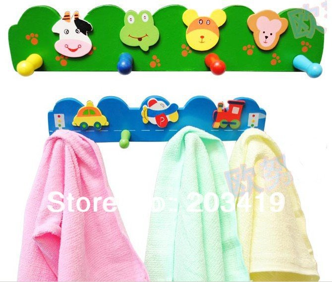 wholesale free shipping CHILDS WOODEN COAT CLOTHES HOOKS HOOK WALL HANGER RACK BABY CARTOON WOODEN BEST DECRATION GIFT craft(China (Mainland))