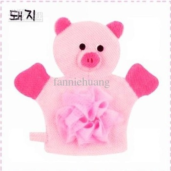 Wholesale - 10 pcs/lot Cartoon Baby Bath Glove animal bath glove bath brush glove bath gloves