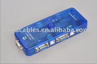 Free Shipping+Tracking number! NEW  USB 2.0 KVM SWITCH/4-Port Mini-Auto USB KVM Switch(Blue)