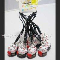 Free Shipping 200pcs Mix order Maneki Neko Black Bell Boy Girl Cell Phone Strap Mobile Strap Hotsale