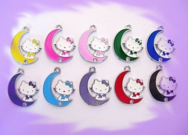 wholesale- Cat/moon hang Charm Fit Pet Collar Phone strip Necklace(China (Mainland))
