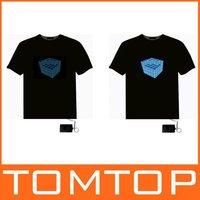6 pcs/lot,LED T-Shirt Glass Sound Activated Flashing T Shirt Rap Hip Hop  Equalizer EL T-Shirt , Free shipping wholesale
