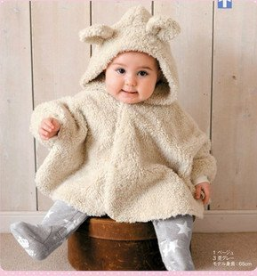 baby overcoat Outerwear double sides fleece Hooded full-sleeved cotton cloak / cap(China (Mainland))